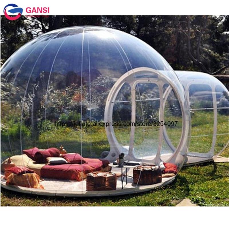 Tente transparente gonflable de camping de tunnel simple de diamètre de 4 m tente portative de bulle de famille de tente de ben de jardin pour la partie