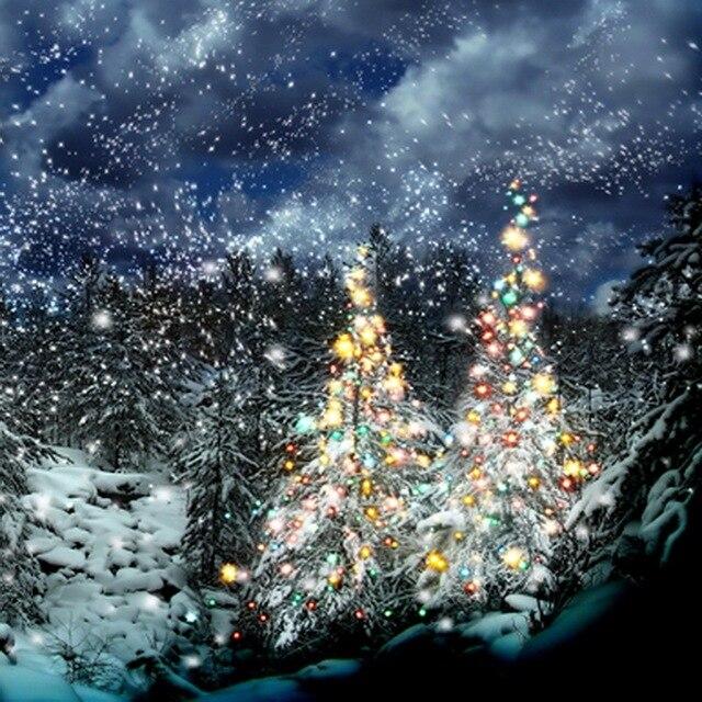 10x10FT Dark Blue Sky Snow Flakes Forest Woods Glow Christmas Tree Custom Photography Backdrops Studio Background
