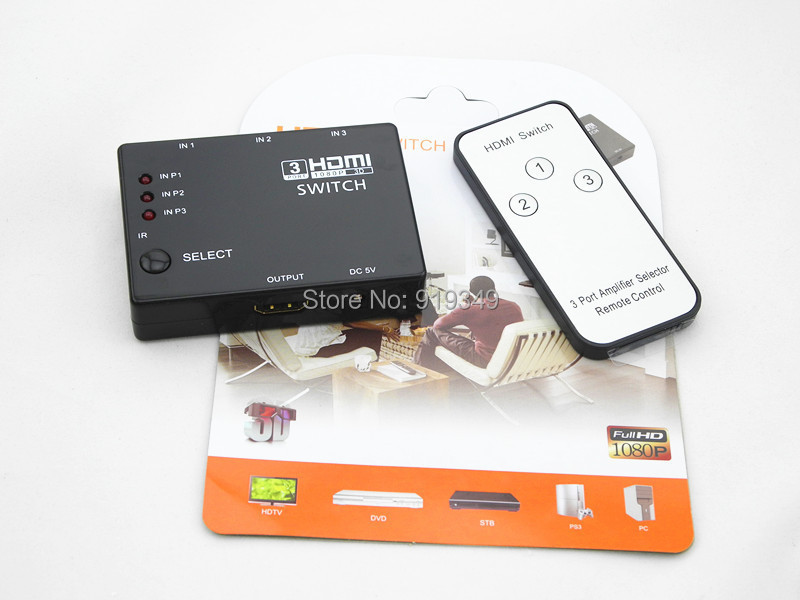 HDMI 1x3 Switch 3 1 Hdmi Port Splitter 1080P Built-in Infrared 3D Switcher IR Remote Audio HDTV PS3 DVD - Shenzhen Leadership Electronics Technology Co.,Ltd store