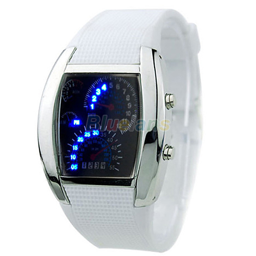 HOT SALE RPM Turbo Blue Flash LED Mens Sports Car Meter Dial Watch  8JWP