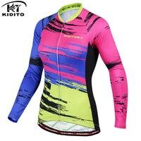 KIDITOKT Verão das Mulheres Camisa de Ciclismo Esporte Ao Ar Livre Ciclismo Manga Longa Top Camisas