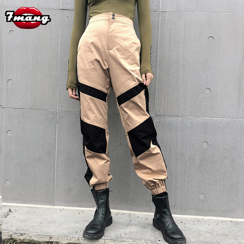 7Mang Patchwork Casual Women Cargo   Pants   Streetwear Sweatpants Khaki High Waist   Capri     Pants   Fashion Loose Cool Trousers