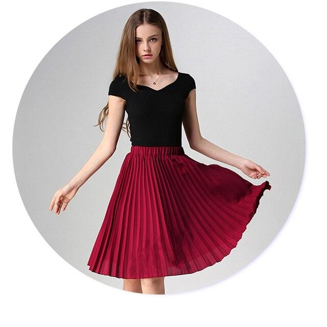 ANASUNMOON Women Chiffon Pleated Skirt Vintage High Waist Tutu Skirts Womens Saia Midi Rokken 2016 Summer Style Jupe Femme Skirt 6