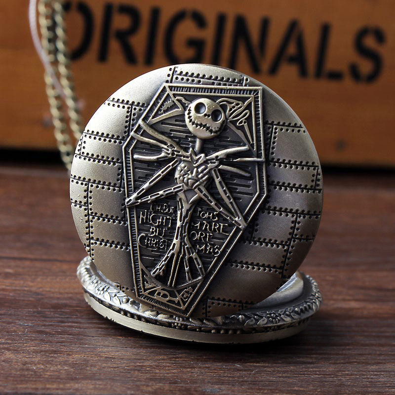 Vintage Unisex Men Women Bronze Steampunk The Nightmare Before Christmas Pendant Quartz Pocket Watch Free Shipping AP006