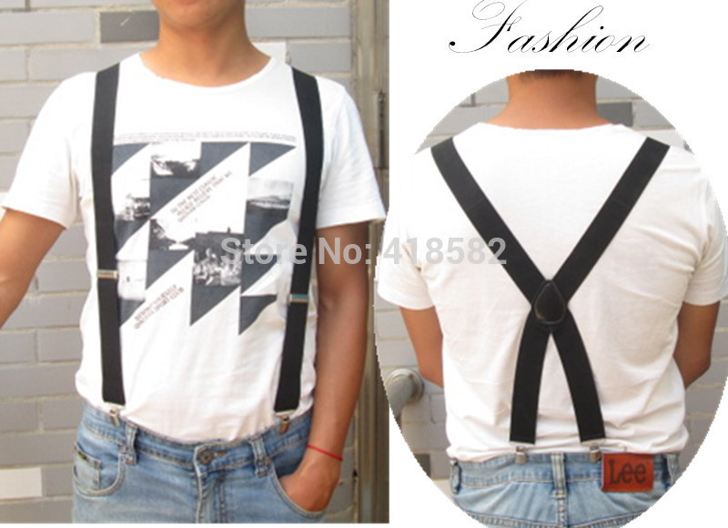 BD057--Fashion  Men Suspenders 4 Clips-on Leather Suspenders Big Size X Back Braces 10pcs/lot  Free Shipping