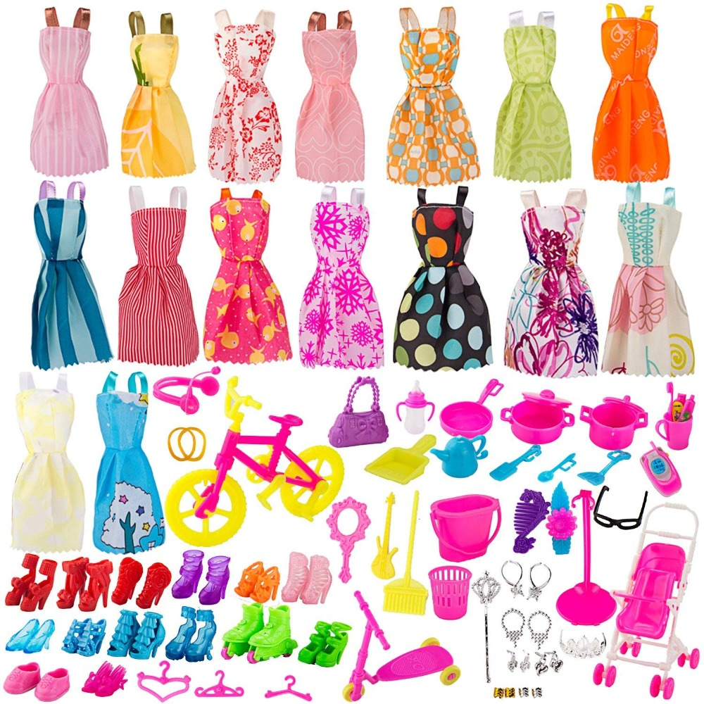16pcs Doll Clothes Set for Dolls Include Party Gown Outfits+Pairs of Shoes+108 pcs Doll Accessories for Various Doll, Great Gift lot 15 pcs 10 pairs of shoes