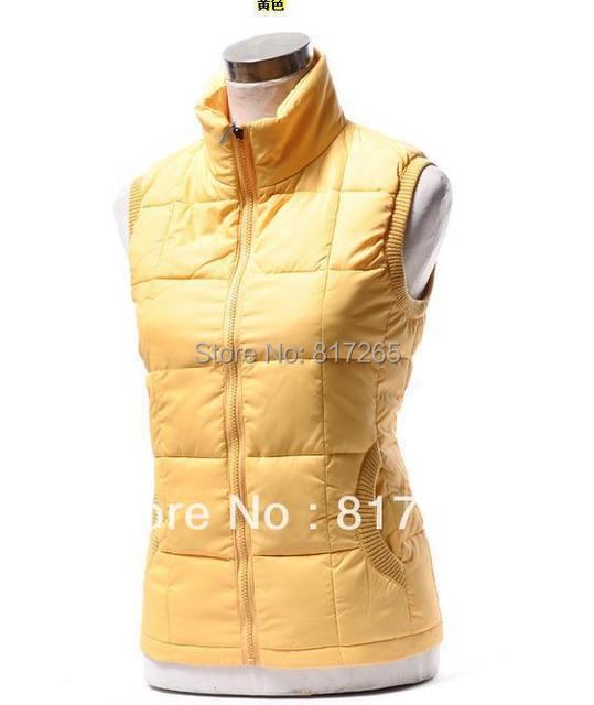 Los bajos precios de Ultra en stock de Dama Elegante amarillo Chaleco Sin Mangas Chaleco de La Manera Delgada del diseño corto wadded chaqueta chaleco