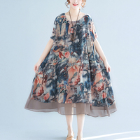 Summer Chiffon Dress Floral Print Loose Dresses Women Short Sleeve O neck Mesh Vestidos Vintage Big Swing Dress Plus Size RE0520