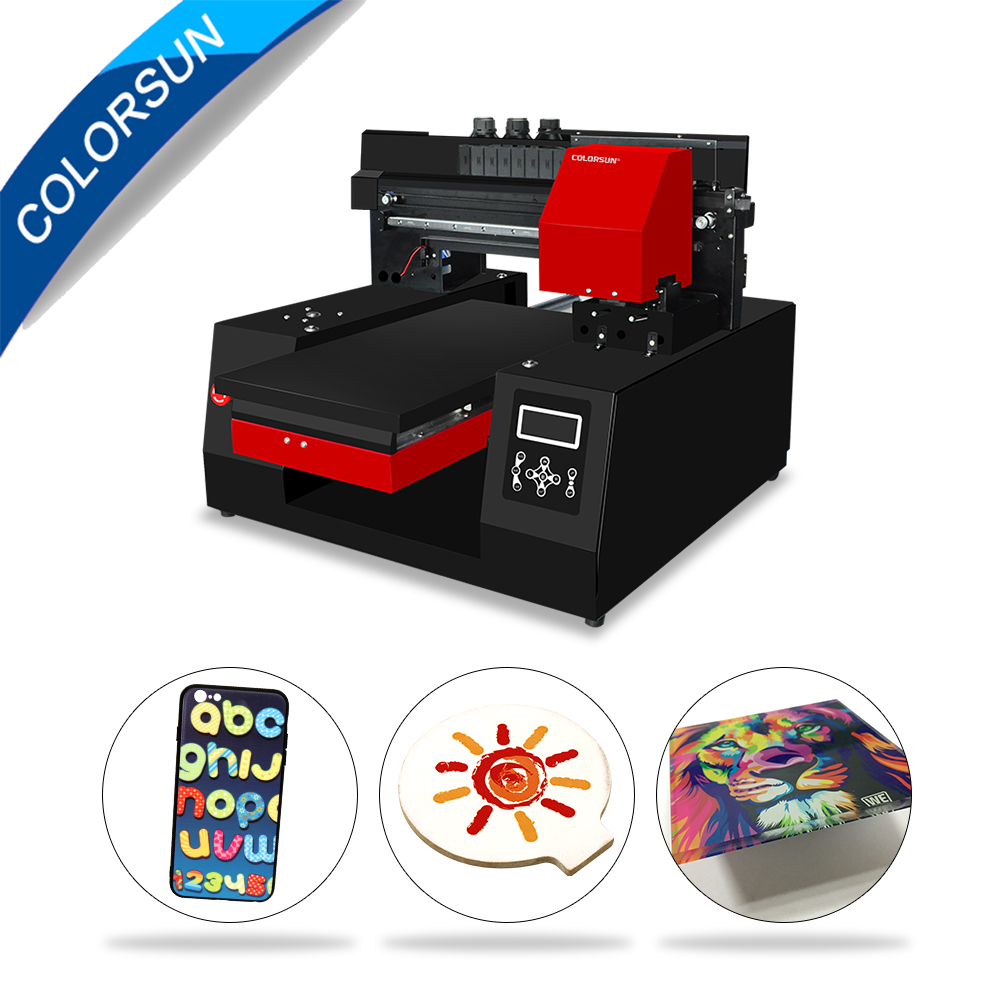 Colorsun automatique A3 + 33*60cm UV à plat imprimante bois acrylique bouteille métal uv imprimante pour tête d'impression Epson DX9 avec une vitesse plus rapide