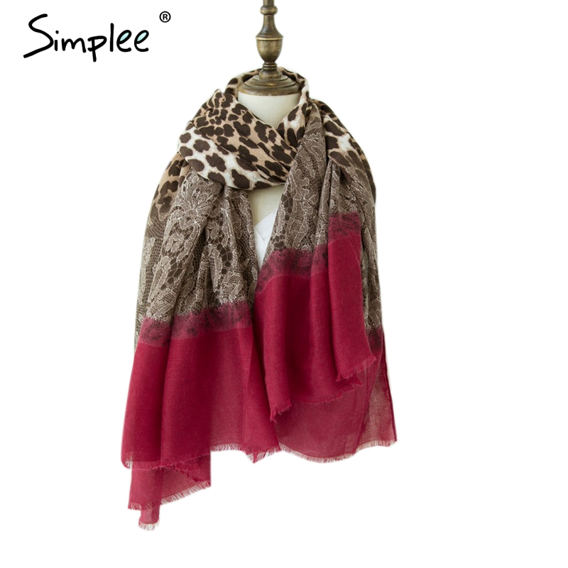 Simplee Leopard Lace Splice Square Winter Women Scarf Luxury Brand Scarves Female 2018 Fashion Chic Vintage Clothing Accessories