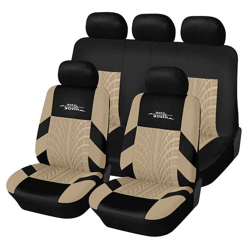 AUTOYOUTH Car Seat Cover Polyester Fabric Universal Automobile Seat Covers For Car Seat Protector Tire Track Detail Styling