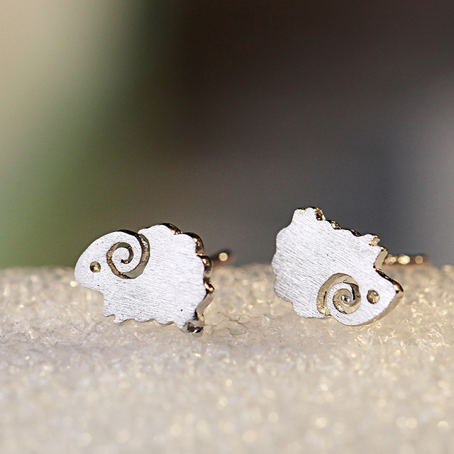 Aliexpresscom Buy 925 Sterling Silver Sheep Stud Earrings Women