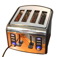 220v 4 slices Stainless steel Toaster automatic toaster electric oven toaster breakfast machine Baking Heating bread machine 1pc