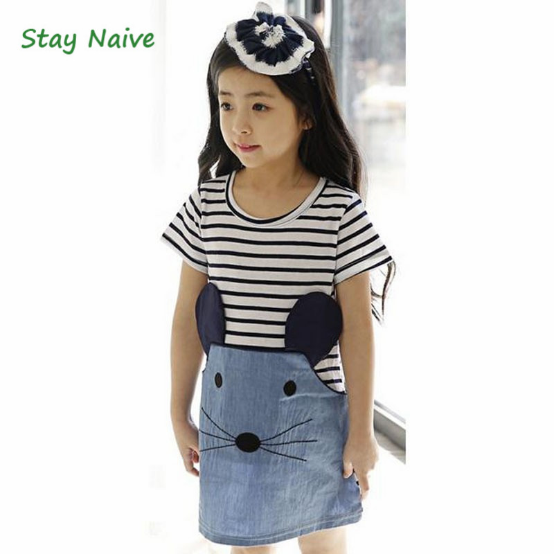 Retail 2017 Spring And Autumn New Children Clothing Striped Patchwork Character Baby Girls Dress The mouse