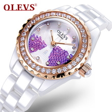 Ladies Luxury Ceramic Fashion quartz Watches silver Rhinestone Woman Watch gem Diamonds Watch Reloj for montre