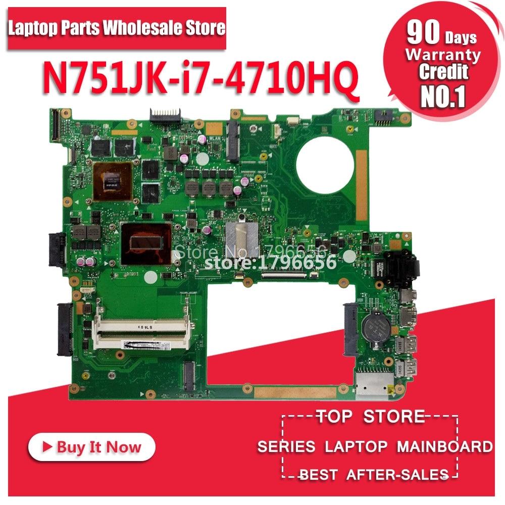 N751JK Ordinateur Portable carte mère pour asus N751JK N751J N751 d'origine D'essai N751JK carte mère I7-4710HQ GTX850M-4G LVDS/EDP
