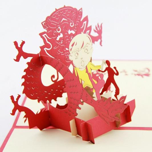 Cubic life 3D Bruce Lee stereo greeting card creative Hongkong handmade commemorative card