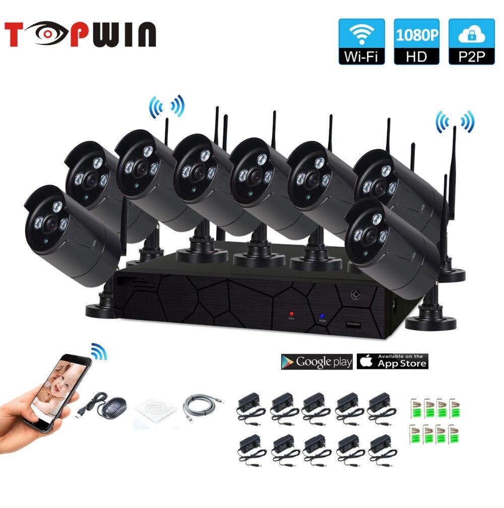 Stecker und Spielen 8CH 1080 p HD Wireless NVR Kit P2P 1080 p Indoor Outdoor IR Nachtsicht Sicherheit 2.0MP IP Kamera WIFI CCTV System