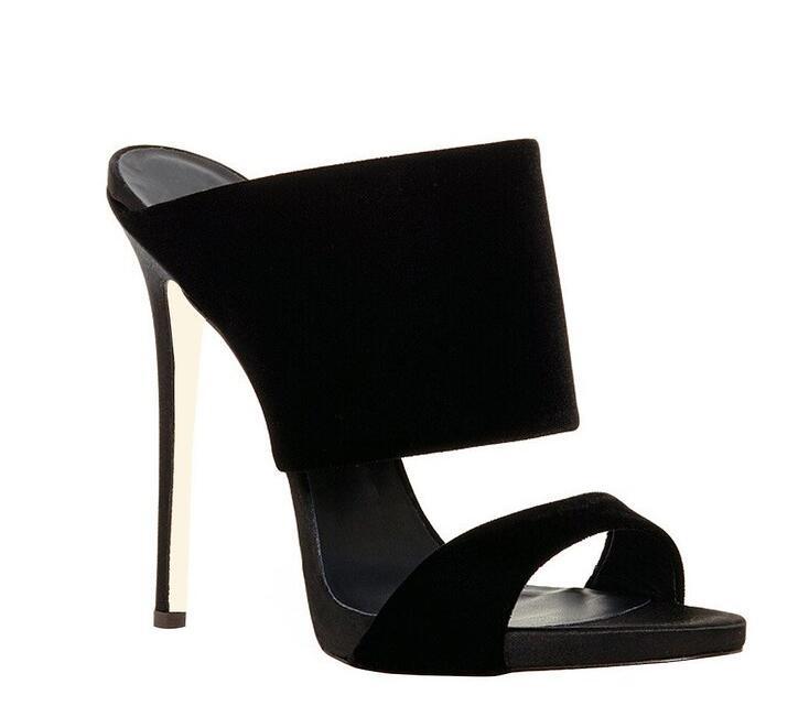Women Retro Mules Shoes Black 4.75inch