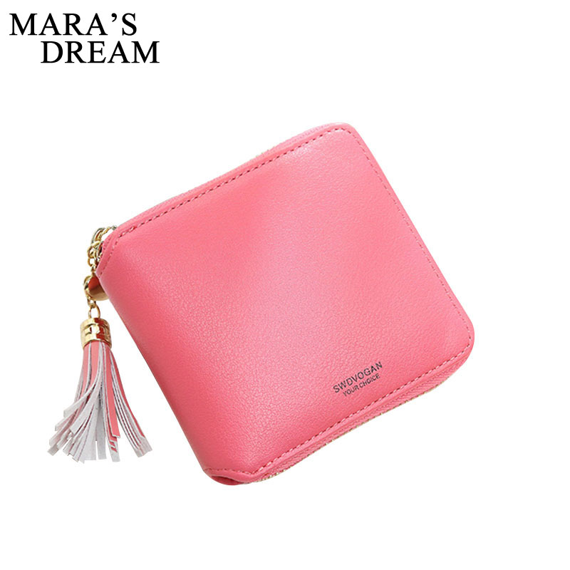 Mara's Dream 2018 New Women's Purse Card Holder Women Small Wallet Zipper Solid Color Clutch Coin Purse Female Bag Portefeuille women purse solid color mini grind magic bifold leather wallet card holder clutch women handbag portefeuille femme dropshipping