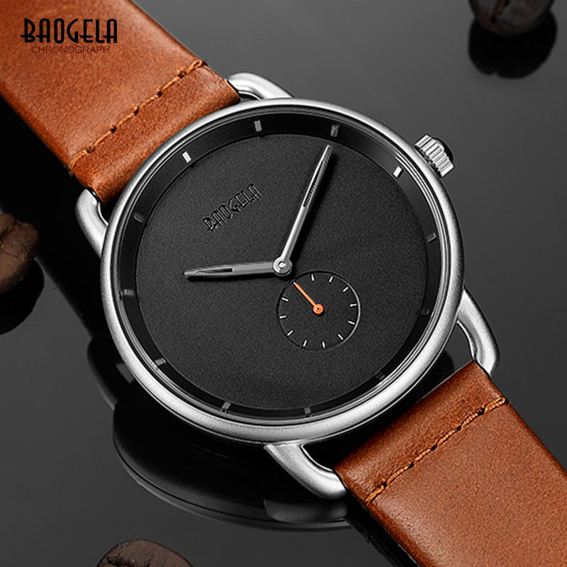 Baogela Men 39 s Minimalism Quartz Analogue Watches Fashion Casual Simple Leather Strap Ultra Thin Wristwatch Man 1806G Dark Brown in Quartz Watches from Watches