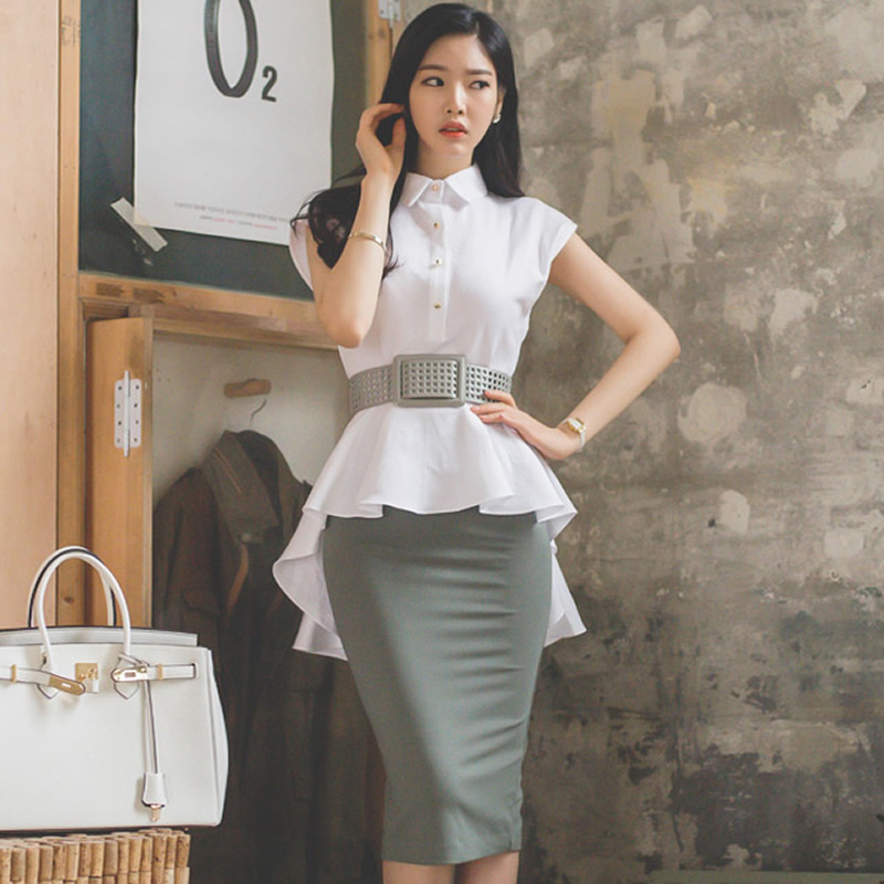 2019 Summer Slim Swallowtail White Blouse Bodycon Midi Skirt Two Piece Office Cloth Belt Peplum Work Suit Dress