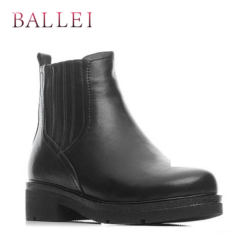 BALLEI Classic Woman Winter Ankle Boots Handmade Quality Genuine Leather Solid Square Heel Shoes Retro Round Toe Casual Boots B7 in Ankle Boots from Shoes