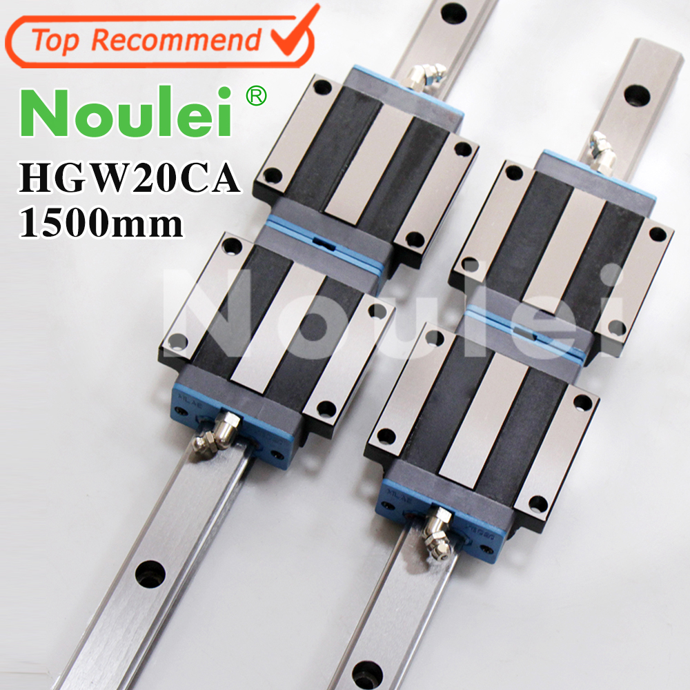 Noulei HGW20CA slide block with linear guide rail 1500mm HGR20 for CNC z axis HGW20 guia hig quality linear guide 1pcs trh25 length 1200mm linear guide rail 2pcs trh25b linear slide block for cnc part