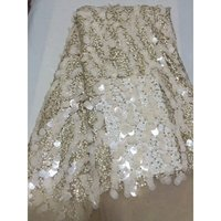 Nigerian Wedding Dress African Lace Fabrics Beautiful Large Sequin French Tulle Embroidery Textile Tulle Lace Fabric