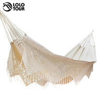 Ultra Large 2 Person Cotton Hammock With Tassel Garden Swing Bed Outdoor Double Hamac Rede Hangmat Hanging Chair Euro Standard