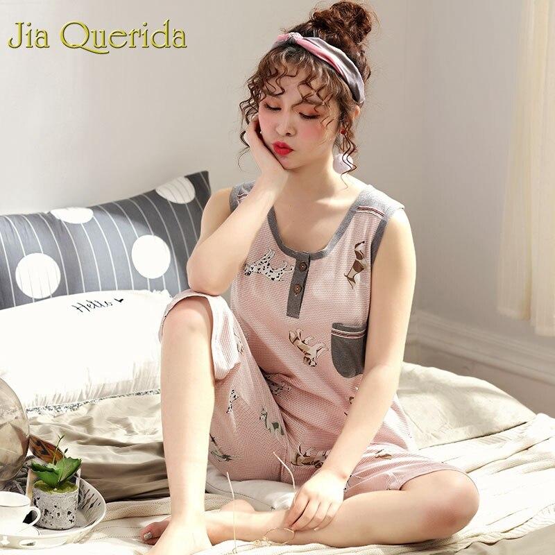 Image 5 - Homewear Pajamas for Women Summer Sleeveless Calf length Pants 100% Cotton Plus Size Floral Pyjama Female Cotton Pink Pijama SetPajama Sets   -