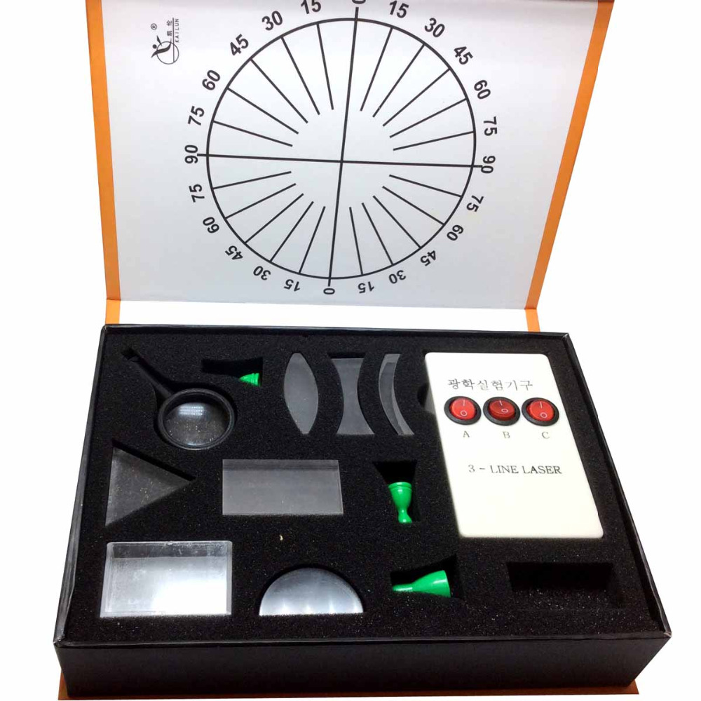 Physical font b Science b font Optical Experiments KIT Triangular Prism Convex Lens Concave Mirror Fisica