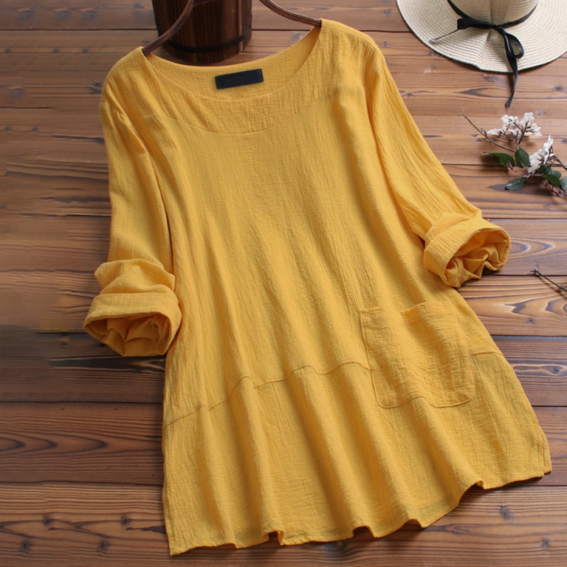 Women Spring O Neck Long Sleeve Blouse Cotton Linen Shirt Plus Size Fashion Pockets Casual Solid Top Femininas Work Blusas 2019 in Blouses amp Shirts from Women 39 s Clothing