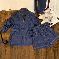 Летние для женщин наборы для ухода за кожей Женский комплект 2 шт. шорты женщин и топ 2019 повседневная одежда куртка с длинными рукавам