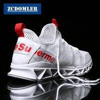 ZCDOMLER 2019 Designer Men Casual Shoes Summer Breathable Mesh Men White Sneakers Lace Up Zapatillas Tenis Hombre Mens Trainers