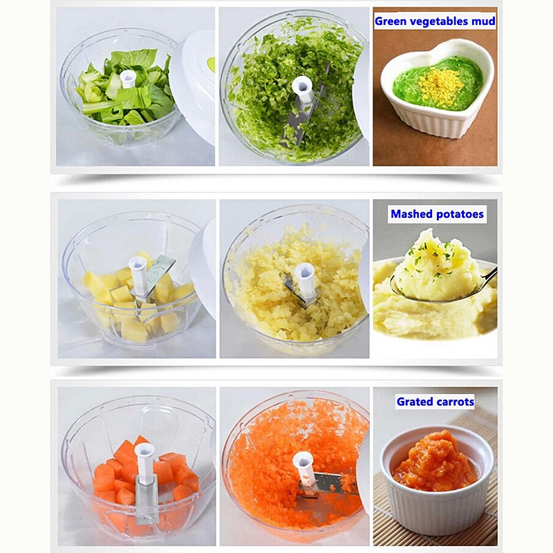 Pull-cord Food Chopper Fruit Vegetable Dicer Garlic Ginger Cutter Kitchen Gadgets Cooking Tools 7