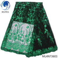 BEAUTIFICAL nigerian lace fabrics green tulle lace beads fabrics for women dress hot sale french lace embroidery stones ML4N736