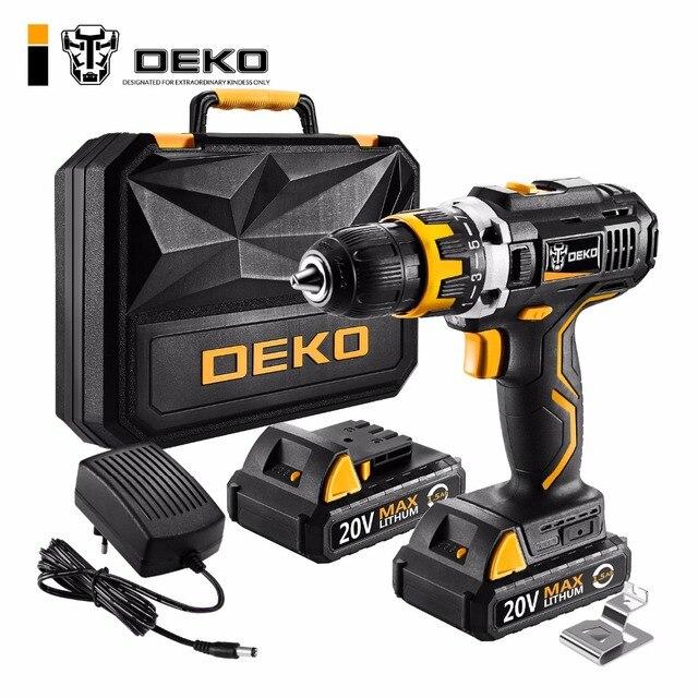DEKO GCD20DU2Y 20 Вольт макс Электрическая отвертка аккумуляторная дрель мини Беспроводной Мощность драйвер DC литий-ионный Батарея 1/2-дюймовый 2-Скорость