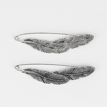 5pcs Large Silver Tone Feather Durable Strong Metal Kilt Scarf Brooch Safety Pin Jewelry Findings 88mm