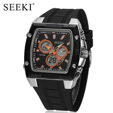 2017 SEEKI Brand Rectangle Dual Display Sport Watch for Men Stainless Steel+Rubber Led Display Chronograph Wrist Watches Relogio