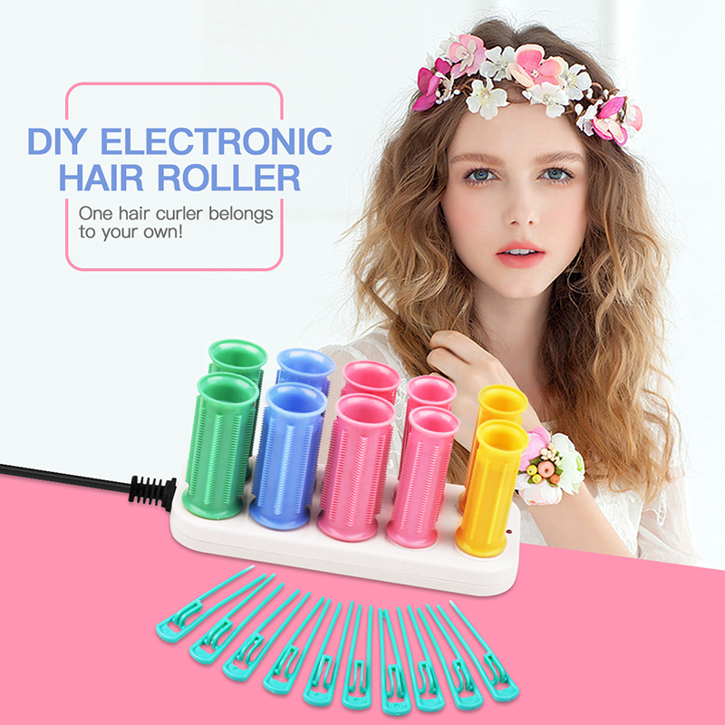 CkeyiN 10-In-1 Ceramic Electric Magic Hair Curler Rollers Dry/Wet Hair Curler Bendy Curly Roller Sticks Set Styling Tool HS22 24 18pcs set 55cm long magic hair curler new magic roller with diameter 2 5cm 2017 new seller