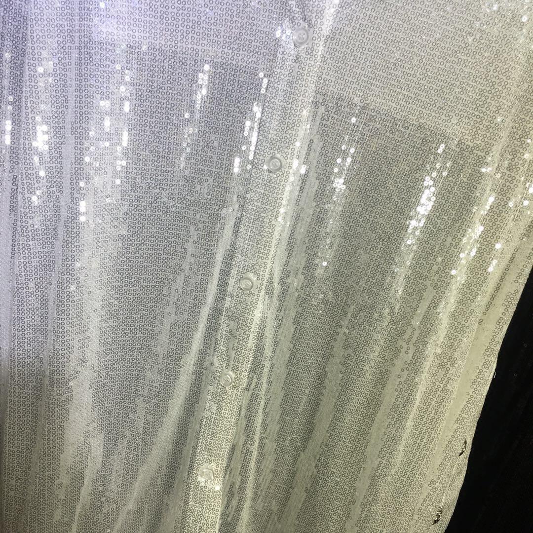 À Noir Blouse Femmes Solide Plein down Turn Tops Femme Corps Paillettes Manches Nouveau 2018 Détendue blanc Chemise Collar Longues Épaisse Perlé Vente Printemps De YUEqB