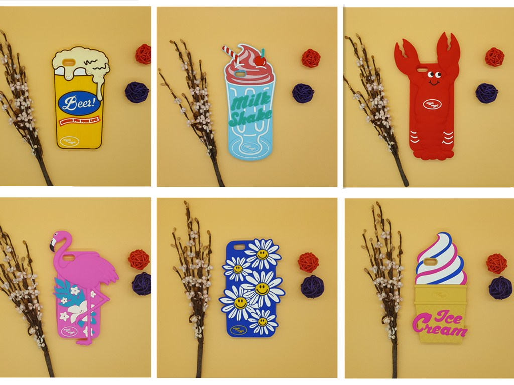 NEW 3D Cartoon Lobster Milk Shake Beer Glass Ice Cream Flower Flamingo Case Silicon Back Cover For iPhone SE 5 5S 5C 6 6S & Plus