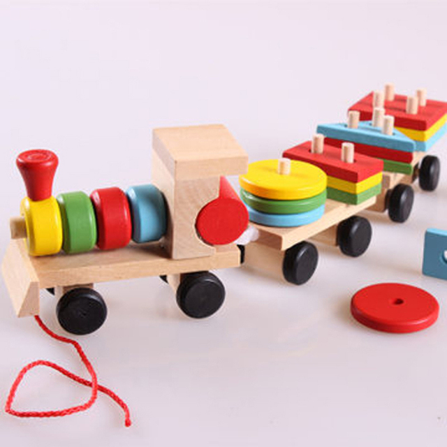 Wooden Solid Wood Stacking Train Toddler Block Toy