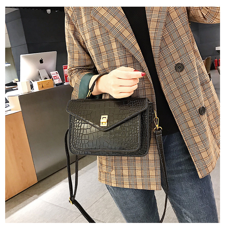 MJ Women Messenger Bag Fashion Crocodile Pattern PU Leather Female Small Handbag Tote Bags Crossbody Shoulder Bag for Girls (13)