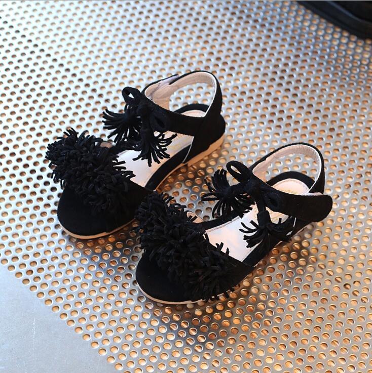 Baby Shoe World Store Girls sandals spring summer 2017 princess han edition baby tassel peep-toe female children's beach shoes kids chaussure enfant