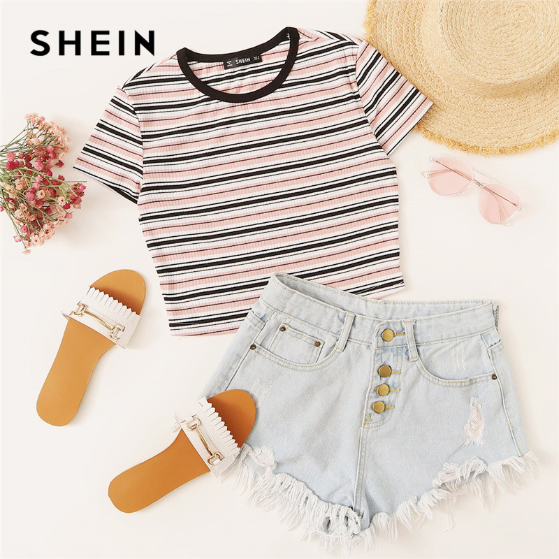 SHEIN Contrast Tape Striped Ribbed T Shirt Women Casual Short Sleeve  Stretchy Summer Tshirt Round Neck Slim Fit Crop Ladies Top