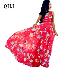 QILI Women Chiffon Dress V-neck Sleeveless High Waist Long Maxi Dressed Summer Casual Dress Plus Size цена 2017