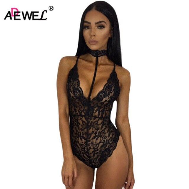 7493cc06ab ADEWEL 2018 Hot Sexy See Through Women Bodysuits Choker Neck Lace Bodysuit  Ladies Skinny Body Tops Romper Combinaison