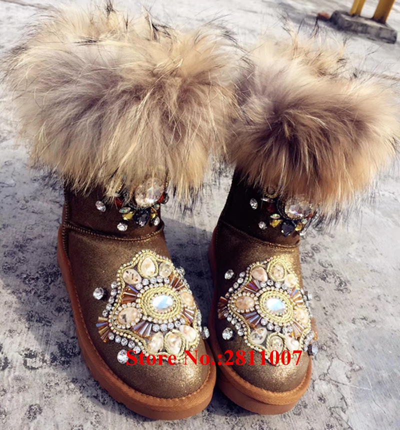 Luxury Bling Crystal Fringe Flowers Handmade Booties Warm Winter Women Snow Boots Lovely Pompom Fur Botas Mujer WomenShoes Woman